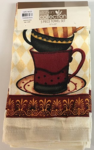 5 Piece Set Includes 2 Kitchen Towels, 2 Pot Holders and 1 Oven Mitt, Cafe Coffee