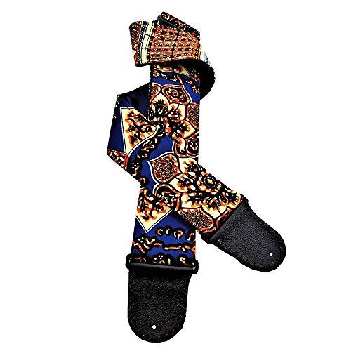 African Artisan Handmade Guitar Strap Orange Blue Ivory Vint
