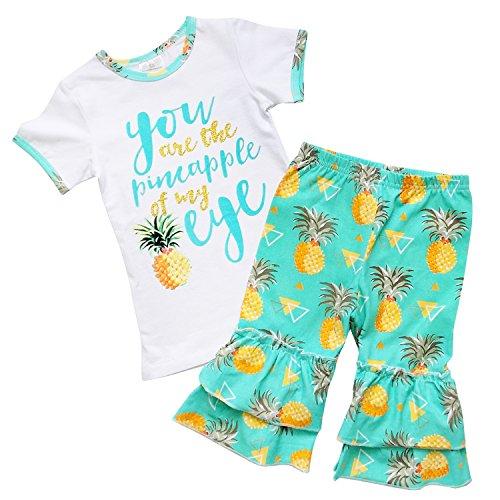 - So Sydney Girls Toddler 2-4 Pc Novelty Spring Summer Top Capri Set Accessories (XXL (7), Pinapple Eye (No Headband))