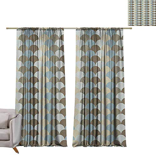 (Blackout Draperies for Bedroom Geometric,Abstract Rounded Circles Pattern in Pale Tones Modern and Ornamental Art Design, Multicolor W84 x L96 Decorative Curtains for Living Room)