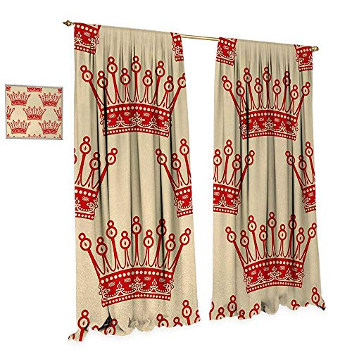 Anniutwo Queen Room Darkening Wide Curtains Crowns Pattern in Red Vintage Design Coronation Imperial Kingdom Nobility Theme Decor Curtains by W72 x L96 Orange and Tan