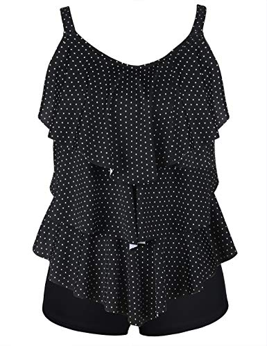 (Septangle Women's Tankini Set Ruffle Swimwear Solid Two Pieces Swimsuit (Black&White Polka Dots, US 16))
