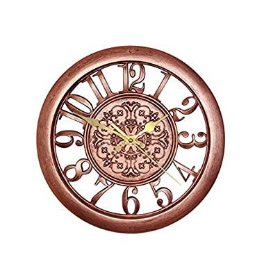 Foxtop 11 Inch Silent Antique Retro See-Through Wall Clock with Arabic Numeral and Standard Quartz Movement-Copper