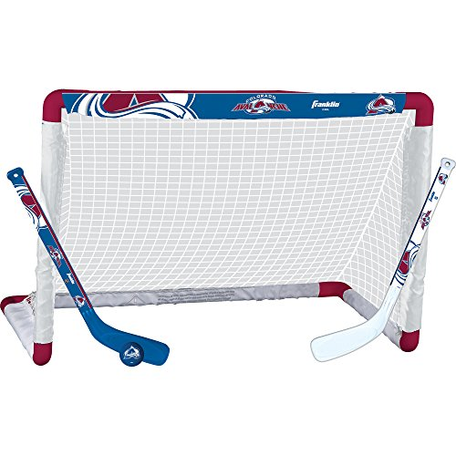 Franklin Sports Colorado Avalanche Mini Hockey Knee Hockey Goal, Ball & 2 Stick Combo Set - 28