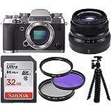 Fujifilm X-T2 Mirrorless Camera Body (Graphite Silver) & 35mmF2 WR Lens (Black) w/32GB Essential Bundle