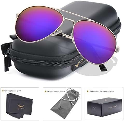 LUENX Aviator Sunglasses Mens Polarized with Case - UV 400 Protection 60mm