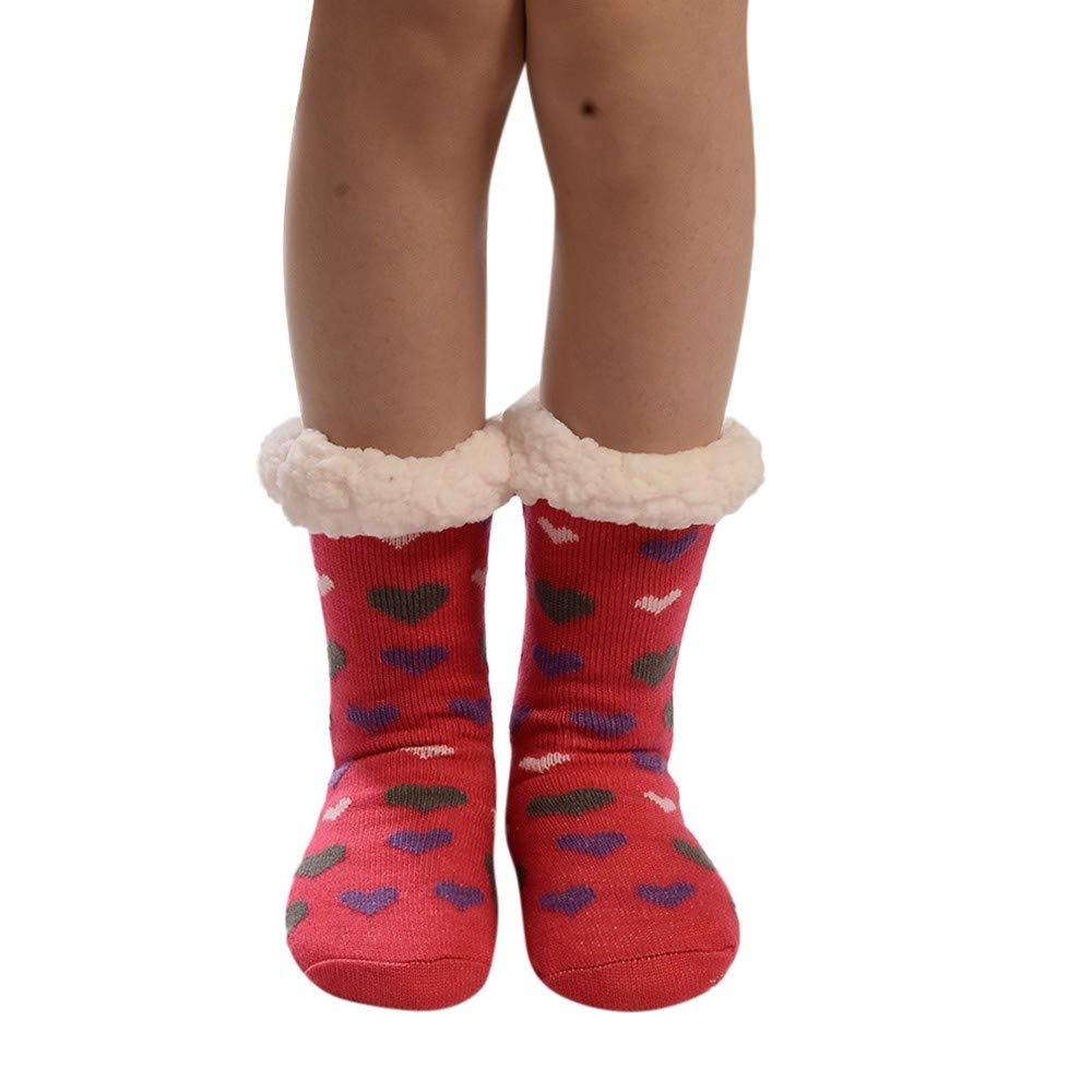 Tonsee Chaussettes en coton pour femmes Plus Print Chaussettes antidérapantes au sol plus épaisses Chaussettes à tapis
