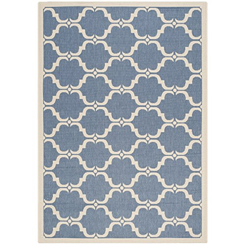Safavieh Courtyard Collection CY6009-243 Blue and Beige Indoor/ Outdoor Area Rug (4' x 5'7