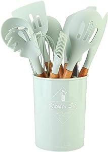 Jarchii Kitchenware, Silicone Kitchenware Set, 11Types Multifunction Green Silicone Kitchenware Cooking Utensil with Storage Bucket Kitchen Supplies for Restaurant Fast Food Shop