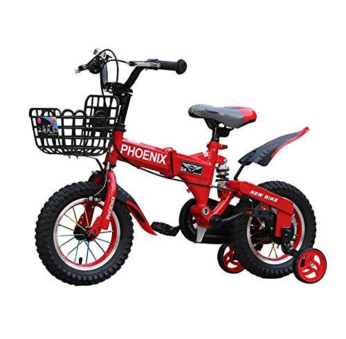GETTEER ★2018★折りたたみ 子ども用自転車 高品質 折りたたみ自転車 子供用 補助輪付き 格好いい 簡単組み立て式 収納便利 B07DN1F436 12インチ|レッド レッド 12インチ