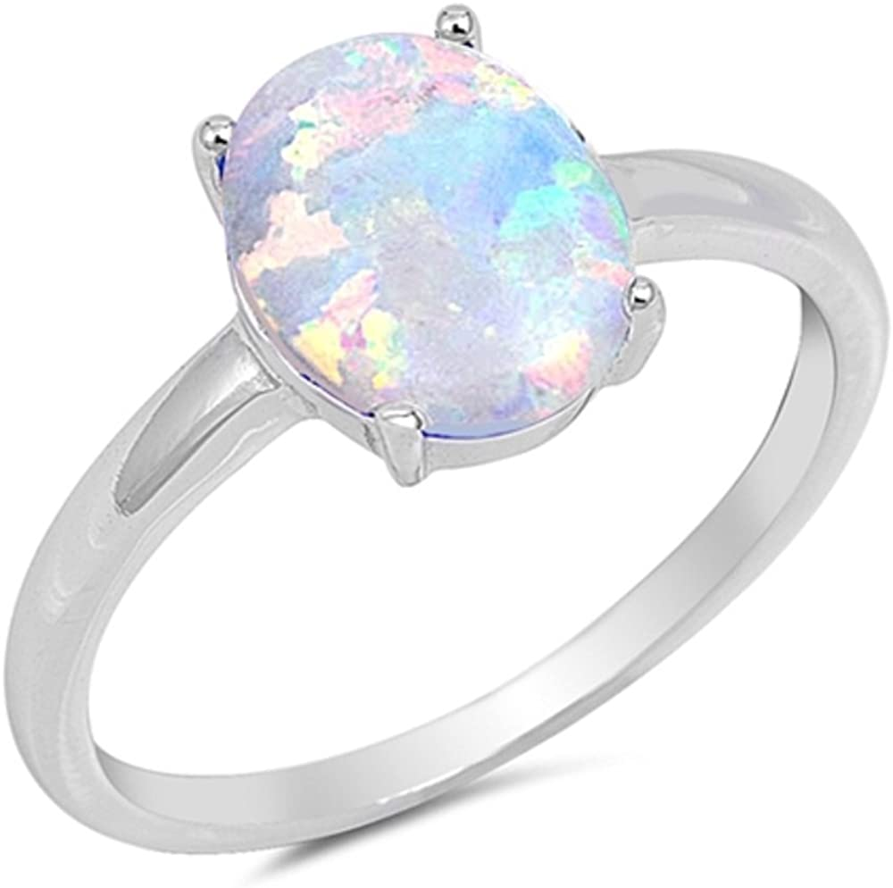 CloseoutWarehouse Three Oval Cut Simulated Opal /& Cubic Zirconia Ring 925 Sterling Silver