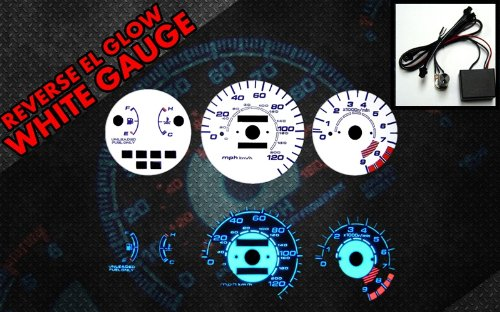 Brand New White Face Blue Indigo Reverse Glow Gauges For 92-95 Honda Civic LX/EX/Si MT (I-126) (Reverse White Glow Gauge)