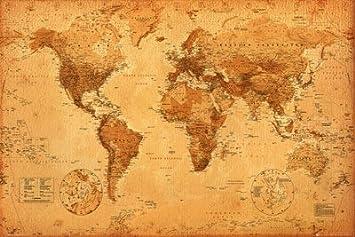 Carte du monde, style ancien Poster Grand Format 91.5 x 61 cm