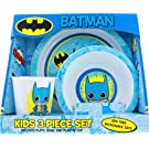 ICUP Dc Comics Batman Toyetic Polypropylene 3-Piece Dining Set with Plate, Bowl and Cup