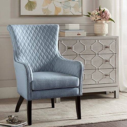 Modern Heston Morocco Wood Finish Accent Chair 100% Polyester (Light Blue/Black)