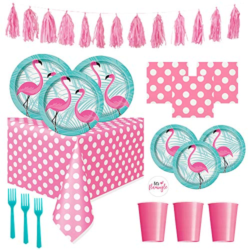 FLAMINGO Theme Party Supplies Pack - Bright Color Plates, Cups, Napkins and Decorations for Pool Party or Luau (Deluxe - Serves 16) -