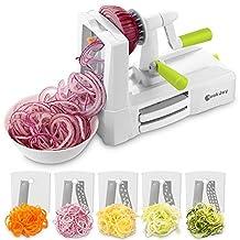 Spiralizer Vegetable Slicer, COOK JOY 5-Blade Spiralizer with Blade Storage Box for Zucchini Noodles, Veggie Spaghetti, Pasta