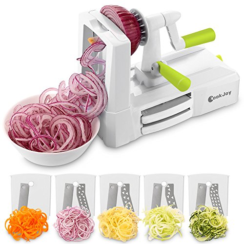 Spiralizer Vegetable Slicer, COOK JOY 5-Blade Spiralizer with Blade Storage Box for Zucchini Noodles, Veggie Spaghetti, Pasta (Blade Cooks)