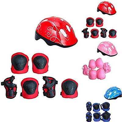 No-branded Protective Gear Sets 7Pcs/Set Kids Child Cycling Skating Skateboard Helmet Roller Protector Elbow Knee Pads Wrist Children Sport Protector Pads ZRZZUS (Color : Red): Home & Kitchen