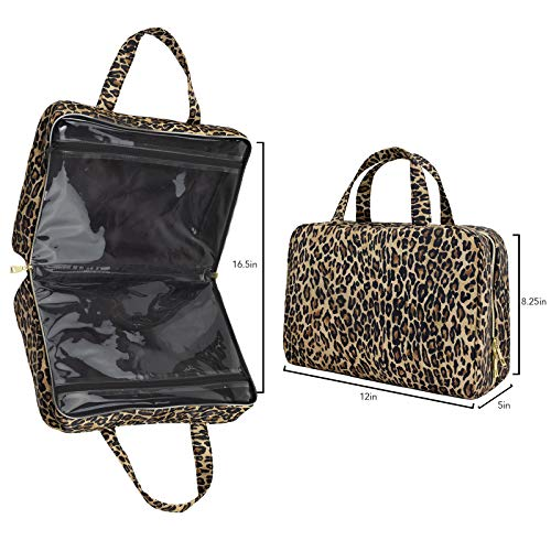 Once Upon A Rose Makeup Bag for Women and Girls, Large Cosmetic Bag with Zippered, Transparent Pockets and Handles, Foldable Makeup Bag for Home and Travel - Leopard Print