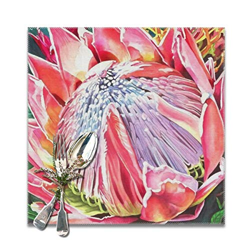 Scarlett Life Hall South African Imperial Flowers ProteasDecorative Polyester Placemats Set of 6 Printed Square Plate Cushion Kitchen Table Heat-Resistant Washable Dining Room Family Children