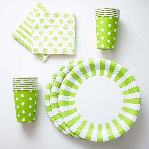 Lime Green Paper Plates Cups Napkins (12) Large Stripe Plates (12) Polka Dot Cups (20) Polka Dot Napkins