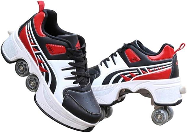 GPFSHOES Deformación Patines Automáticos Zapatillas De Deporte Hombres Mujeres, Ajustable Invisible Roller Walking Runaway Four Wheel Principiantes Zapatos Casuales,Rojo,39: Amazon.es: Hogar