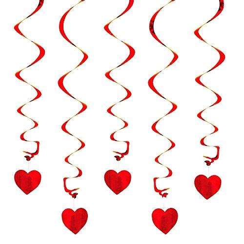 Oblique-Unique® Deckenhänger Spiral Girlanden mit Herzen - Farbe wählbar (Rot)