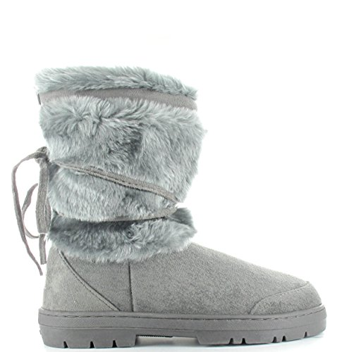 Winter Snow Katrina Fur Thick Lined Faux Womens Grey Boots Sole Rxa6wFXq