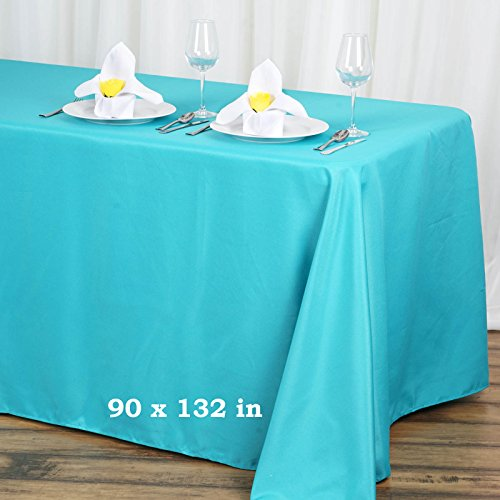 - Efavormart 90x132 Turquoise Wholesale Rectangle Polyester Tablecloth Linen Wedding Party Restaurant Tablecloth