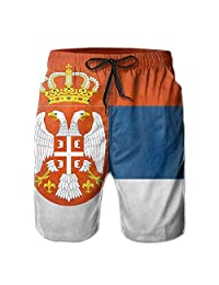 OMYOT Serbia Grunge Flag Quick Dry Elastic Beach Shorts Pant Swim Trunks Men Swimsuit