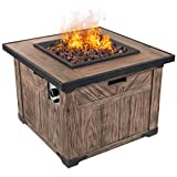"Dian 32"" Outdoor Patio Gas Fire Pit Elm Wood Grained Propane Gas Fire Table with Lava Rocks 50,000 BTU Auto Ignition with Safety Push Button HE9997"