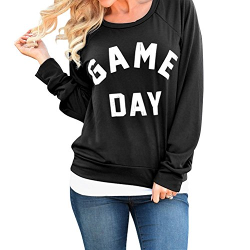 Nlife Women Fashion Game Day Letters Print Sweatshirts Long Sleeve Sweatshirt Blouse Top