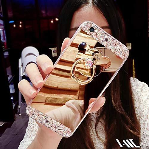Sweau Funda iPhone XS MAX Silicona Carcasa Caso Cover Anti-Ara/ñazos Funda Bling Glitter Espejo Volver Caso Ultra Delgado TPU Transparente Protectivo Parachoques Tapa Trasera Shell con Oso Anillo