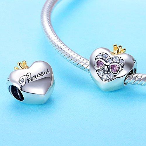 BAMOER Sterling Silver Heart of Princess Love CZ Bead Charm for DIY Snake Chain Bracelet by BAMOER (Image #3)