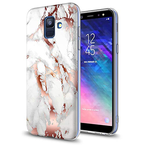 018 Case with Screen Protector,Slim Anti-Scratch Armor Shock-Proof Cute Sparkle Bling Girls Women Protective Cover for Samsung Galaxy A6 2018 5.6 INCH Rose Gold White ()