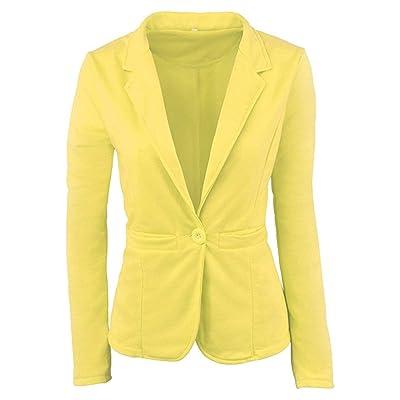 Abrigo de Chaqueta de Manga Larga y Corte Slim Casual para Mujer Talla Grande Outwear (Color : Amarillo, tamaño : S): Hogar