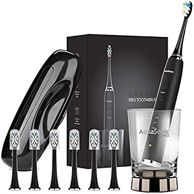 AquaSonic Black Series PRO - Ultra Whitening 40000 VPM Rechargeable Electric Toothbrush w/Revolutionary Wireless Charging Glass - 6 Adaptive ProFlex Brush Heads & Travel Case - 4 Modes w Smart Timer