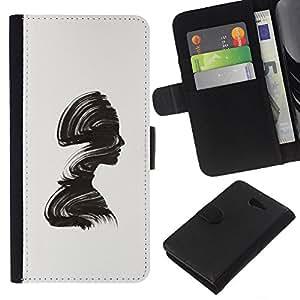 KingStore / Leather Etui en cuir / Sony Xperia M2 / Minimalista Cepillo Alivio Mujer;
