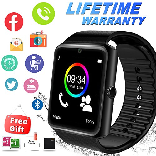 Bluetooth Smart Watch With Camera Sim Card Slot Touch Screen Smartwatch Unlocked Cell Phone Watch Sports Smart Wrist Watch For Android Phones Samsung Sony IOS Iphone 6s 7 Plus 8 X M (black) (black) by IFUNDA
