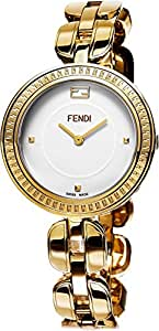 Fendi MyWay Women's-large White Face Yellow Gold Plated Swiss Watch F351434000