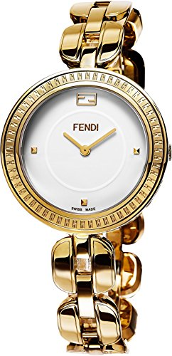 Fendi MyWay Women's-large White Face Yellow Gold Plated Swiss Watch F351434000 by Fendi