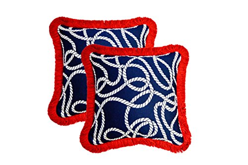 """RSH DECOR Set of 2 - Indoor/Outdoor 20"""" Square Decorative Throw/Toss Pillows - Maritime Nautical with Jocky Red Sunbrella Fringe - Zipper Cover & Insert"""