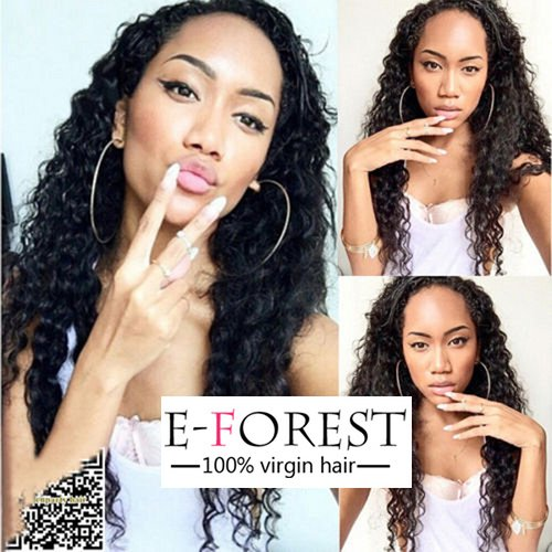 E-forest hair 7A Virgin Hair Silk Base Full Lace Wig Peruvian Lace Wig Human Hair Deep Curly Free Part with Baby Hair 130% Density Hair Lace Wigs(20