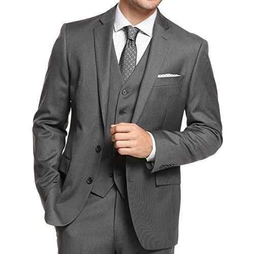 Ryan Seacrest Mens Wool Pinstripe Two-Button Blazer Gray 44R