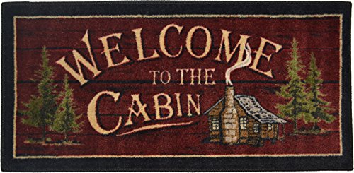Wholesale Rug Source Cozy Cabin Welcome to the Cabin Nonskid (Non Slip) Cute Lodge Kitchen Mat Rug, 44