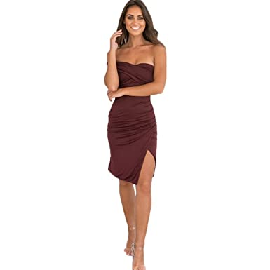 f6e91ff6a502 Summer sexy off shoulder Mini Bodycon Dress wine red BKY13-2-042.2 ...