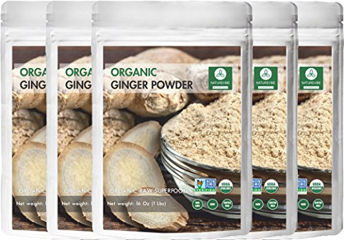 Naturevibe Botanicals Organic Ginger Root Powder-5 lbs (5 pack of 1lbs each), Zingiber officinale Roscoe | Non-GMO verified, Gluten Free and Kosher - Ginger Root Powder
