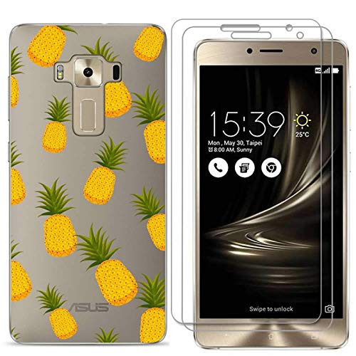 Zenfone 3 Deluxe 5.5 Inch ZS550KL Case with 2 Pack Glass Screen Protector Phone Case for Men Women Girls Clear Soft TPU with Protective Bumper Cover Case for ASUS Zenfone 3 Deluxe ZS550KL-pineapple