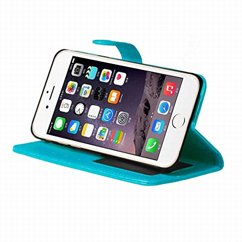 Yiizy Apple IPhone 7 Plus Funda, Bastidor Diseño Solapa Flip Billetera Carcasa Tapa Estuches Premium PU Cuero Cover Cáscara Bumper Protector Slim Piel Shell Case Stand Ranura para Tarjetas Estilo (Azu
